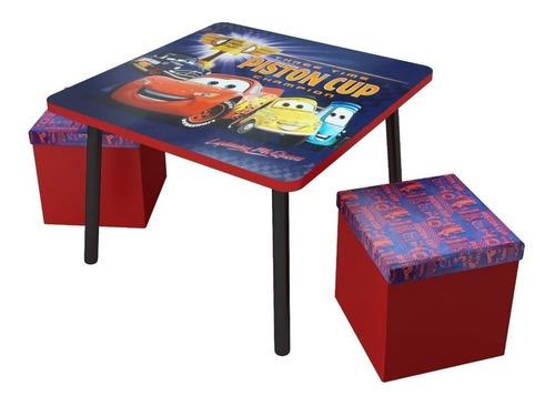 mesa y sillas infantiles para niños puff disney cars +