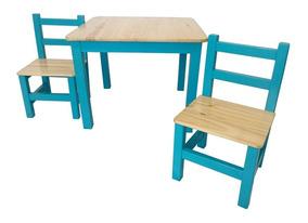 Mesa Y Sillas Niños De Madera Pintada A Mano Mueble Infantil