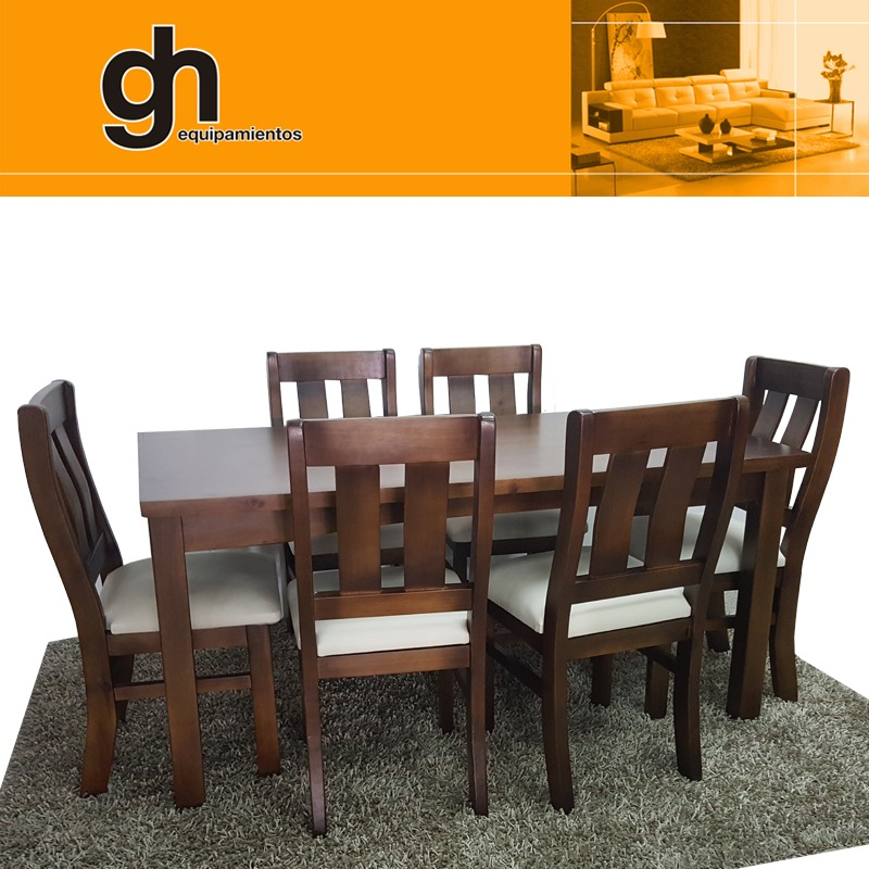 Mesa y sillas para comedor living modular madera maciza gh for Sillas madera maciza para comedor