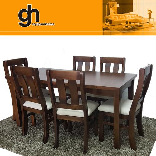 mesa y sillas para comedor living modular madera maciza gh
