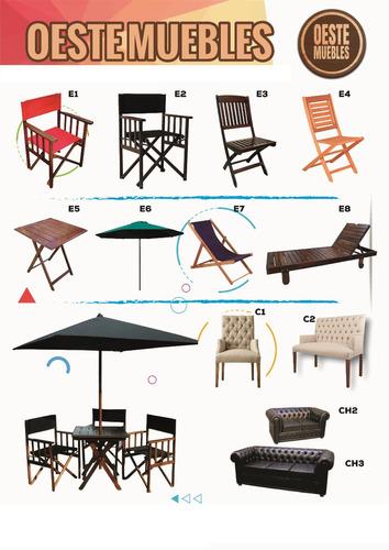 mesa y sillones director madera silla bar jardin reforzados