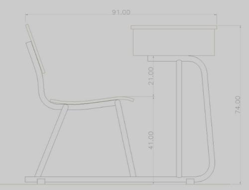 mesabanco escolar para primaria baja tipo trineo formaica