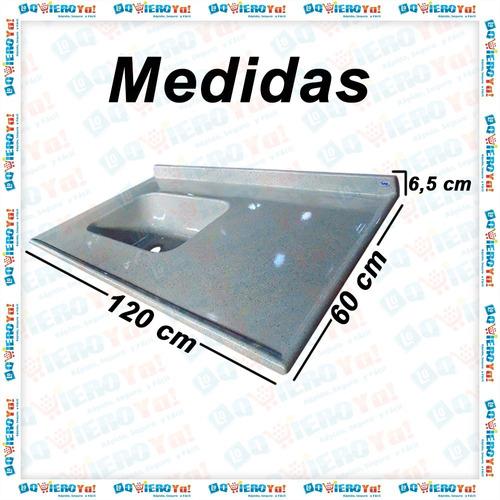 mesada bacha durafort c/ zócalo marmol sintetico 120x60 cm