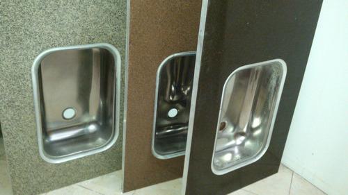 mesada de cocina de marmolina bacha acero perimetro aluminio