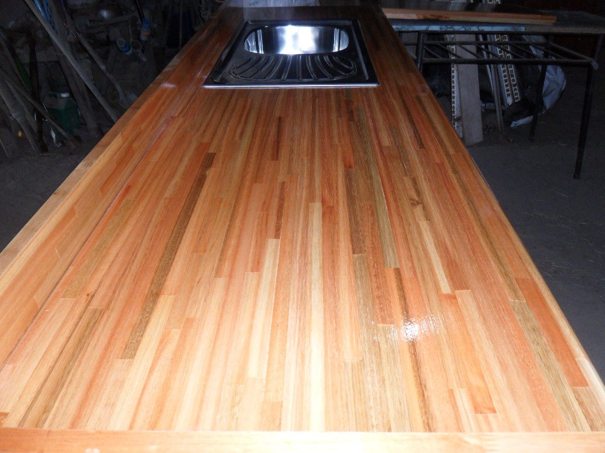 Mesada de madera plastificada en mercado libre for Mesada de madera para cocina