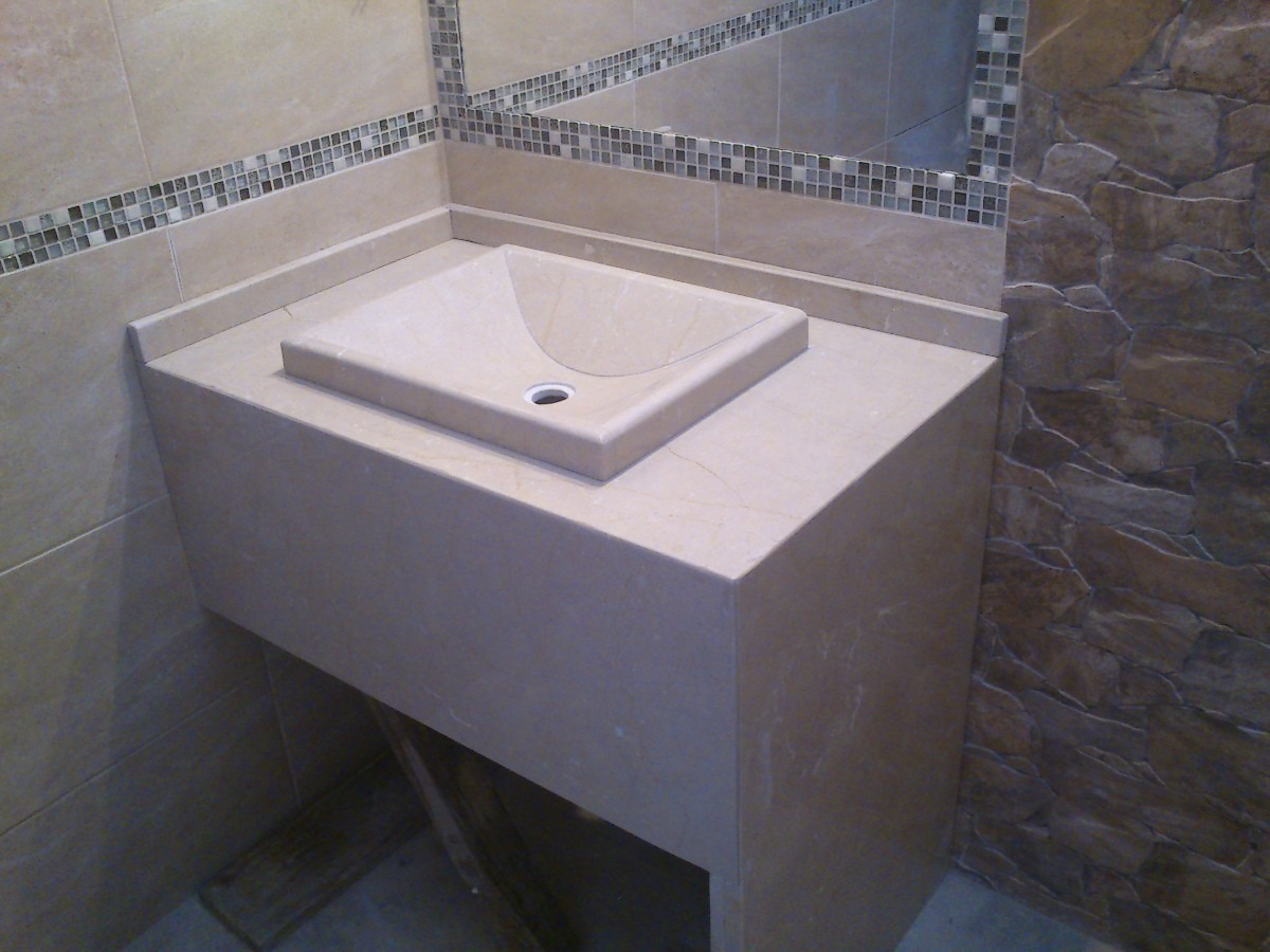 Mesada de marmol para ba o con bacha artesanal for Lavadero para bano