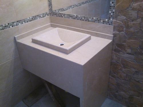 Mesada de marmol para ba o con bacha artesanal - Bano de marmol ...
