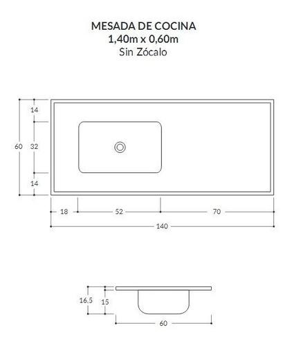 mesada durafort marmol sintetico 1,40 cocina selectogar