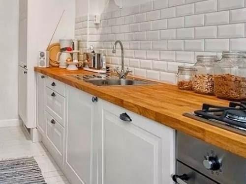 mesada madera dura alistonada p/ bacha-desayunador - mader shop