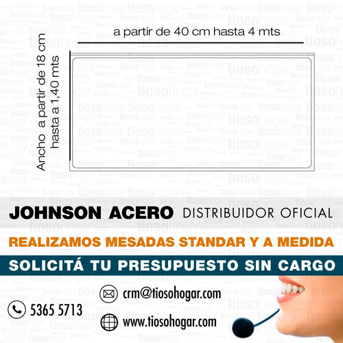 mesada medida acero inoxidable johnson esquinera borde mensu