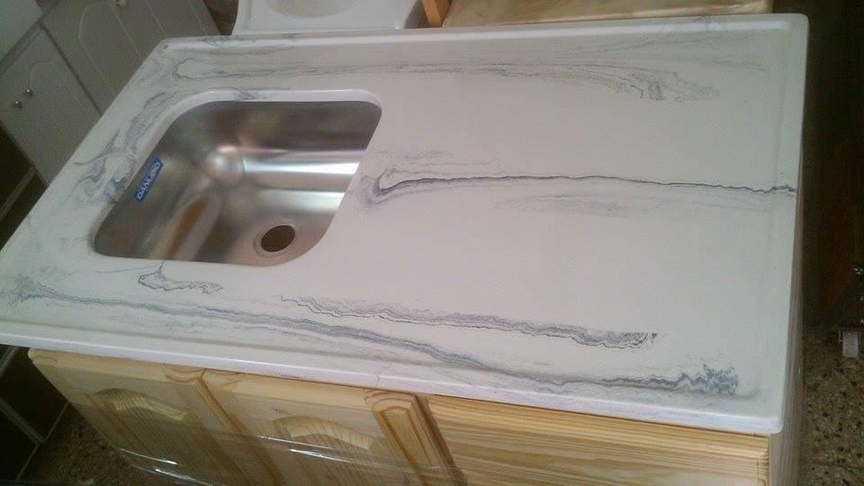 mesada para cocina marmol sintetico