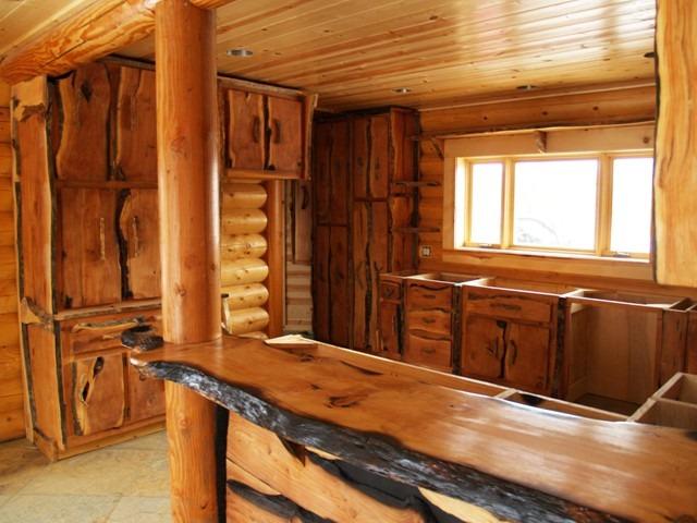 Mesada tabla barra desayunador pasaplato madera dura for Decoracion barras de bar rusticas