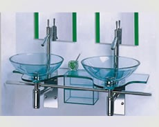 Mesada vidrio doble para ba o con doble pileta redonda for Piletas para bano