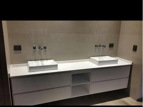 mesadas bachas a medida marmol sintético baños (marmolina).