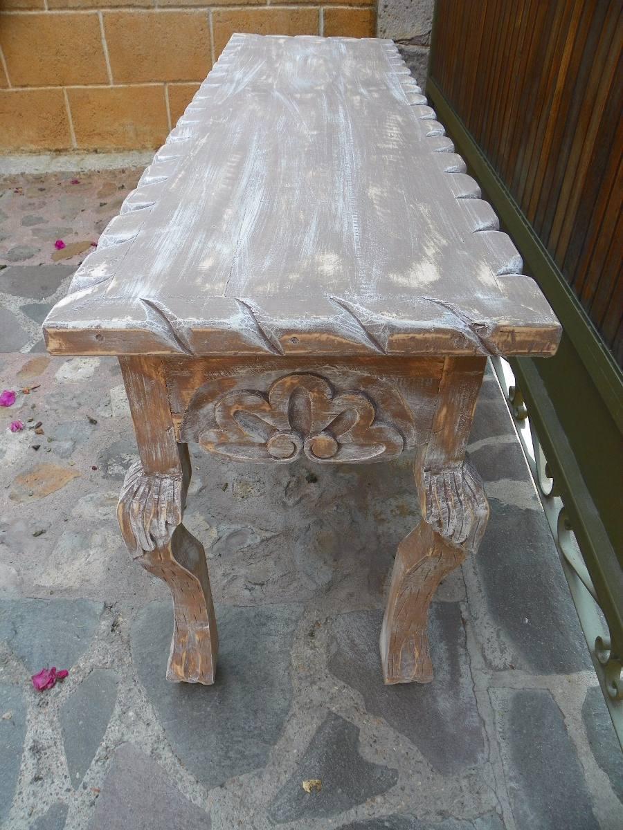 Mesa escritorio vintage tallada en madera c decapado - Decapado sobre madera ...
