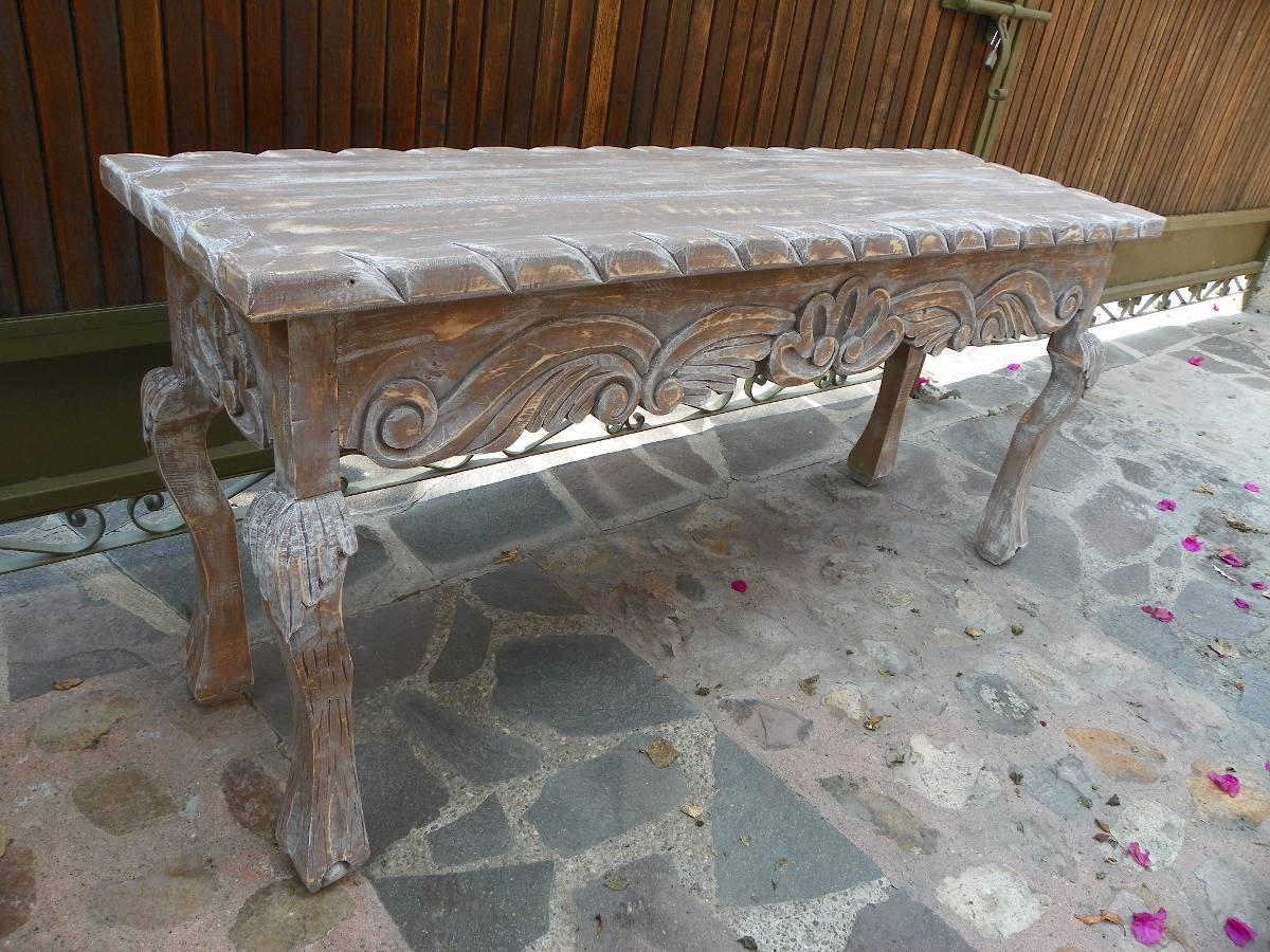 Mesa escritorio vintage tallada madera con decapado for Mesa vintage madera