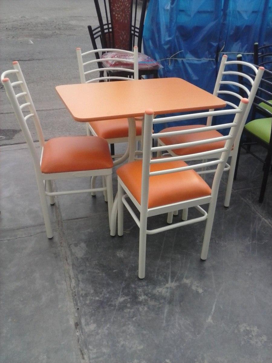 Mesamelamina con 4 sillas en color naranja nuevo s for Caracteristicas de un comedor