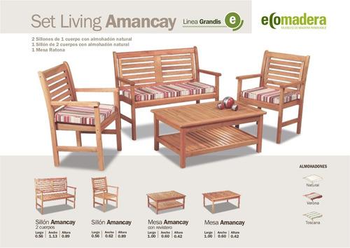mesas baja jardin exterior interior madera revistero 100x60+