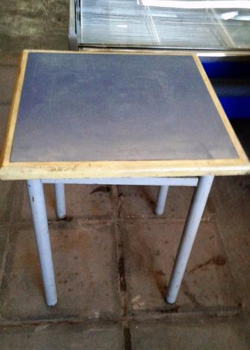 mesas bar 65x65 madera patinada pie caño grueso mar de plata