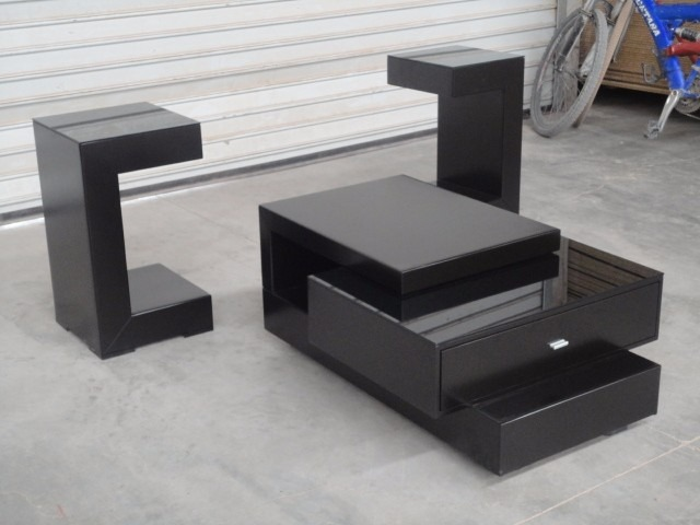 Elegante juego 3 mesas de centro sala vidrio negro for Mesas de centro de sala de vidrio