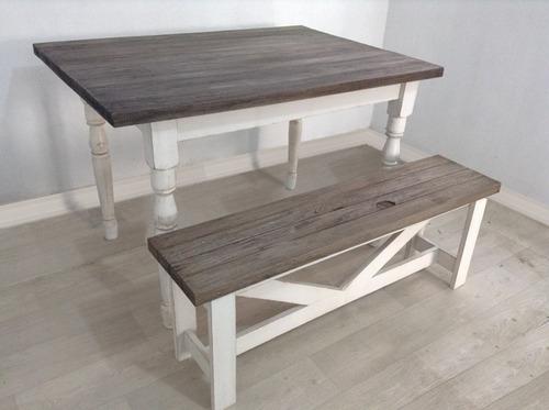 Mesas comedor r sticas vintage con banca fotos reales 8 en mercado libre - Bancas de madera para comedor ...