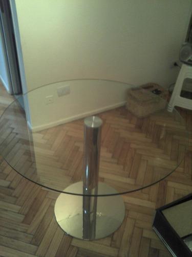 mesas con base cromada y pegado laser uv a medida