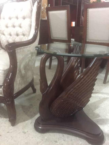 mesas de centro de cisnes talladas a mano en cedro rojo