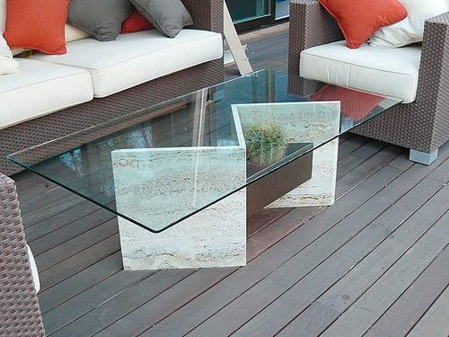 mesas de centro de marmol con tablero de vidrio