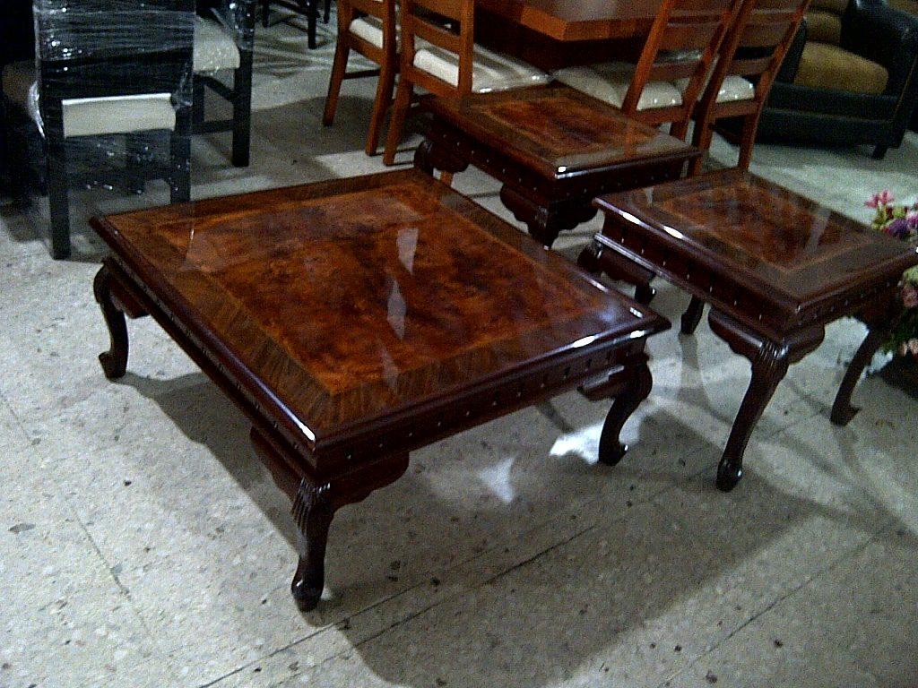 Mesas de centro estilo provenzal en madera fina talladas a for Mesa centro madera