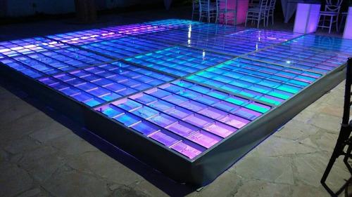 mesas de cristal iluminadas