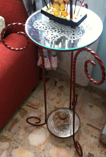 mesas de forja con vidrio biselado sp0