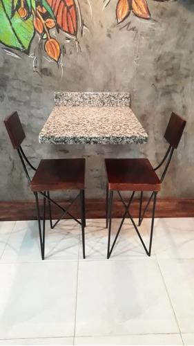 mesas de granito con sillas