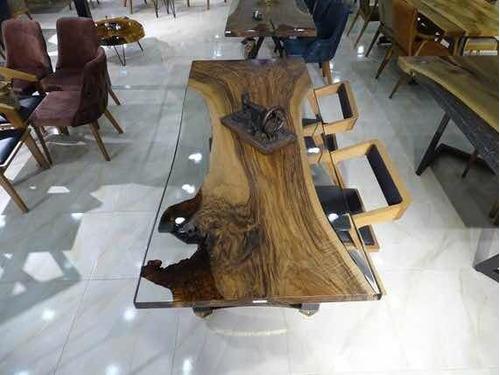 mesas de lujo de resina y parota