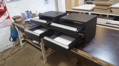 mesas de luz flotantes en melamina 18 mm perfil j (el par)