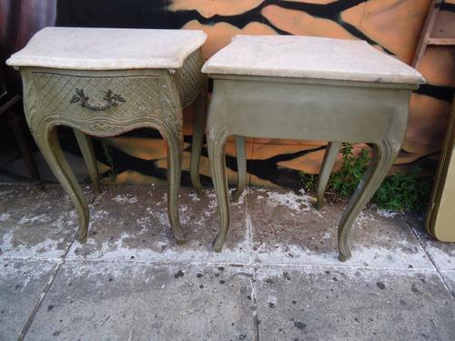 mesas de luz francesas luis xv con marmol