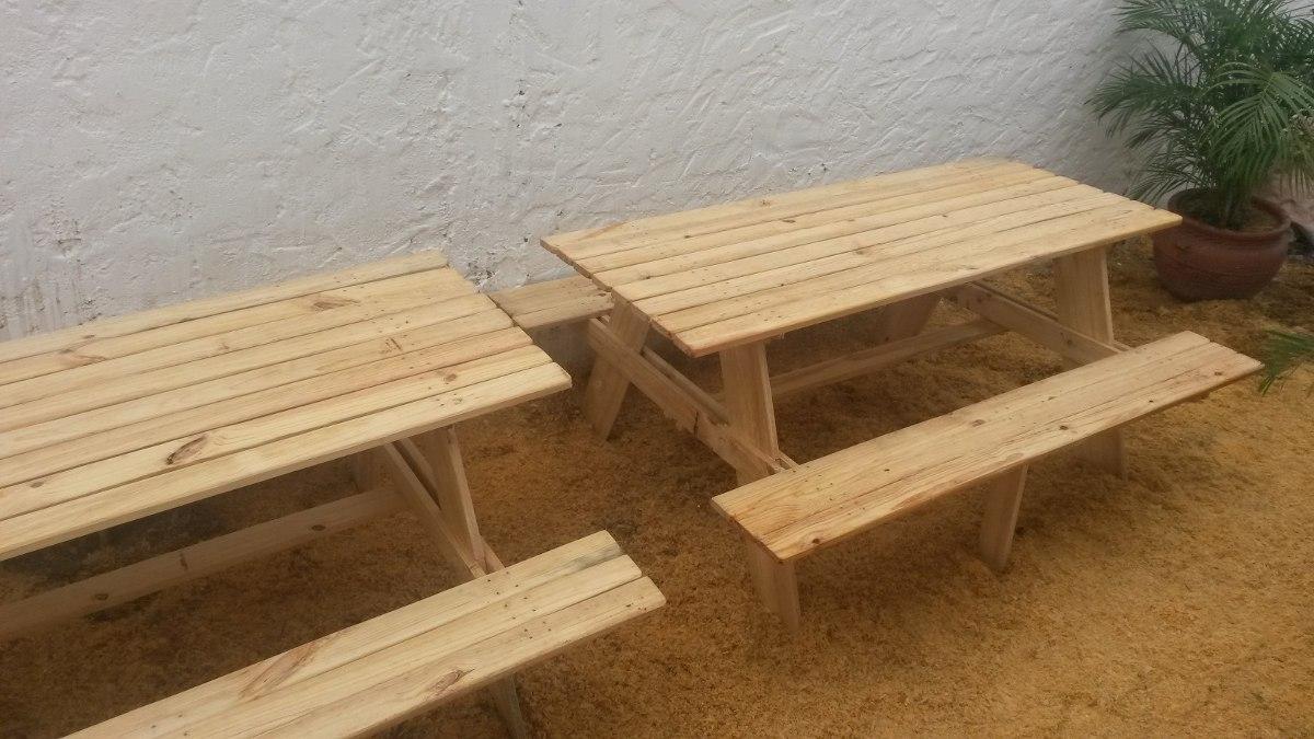 Mesas de madera o de paletas para picnic o camping for Mesa de camping de madera