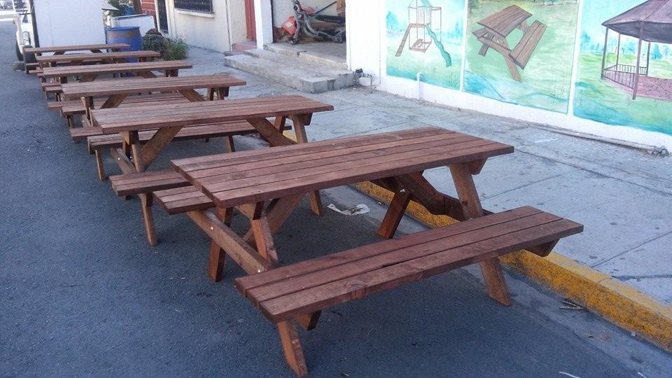 Mesas de madera pic nic picnic exterior bancas jardin for Bancas de jardin de madera
