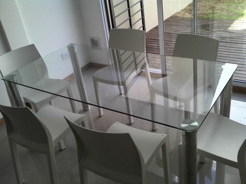 mesas de vidrio a medida , pegado laser uv