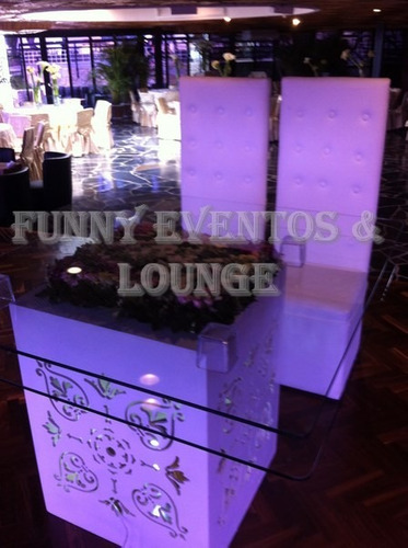 mesas de vidrio iluminadas, letras love,mobiliario lounge,