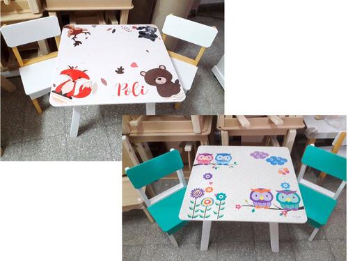 mesas infantiles vintage + 2 sillas con pizarra o pizarrón