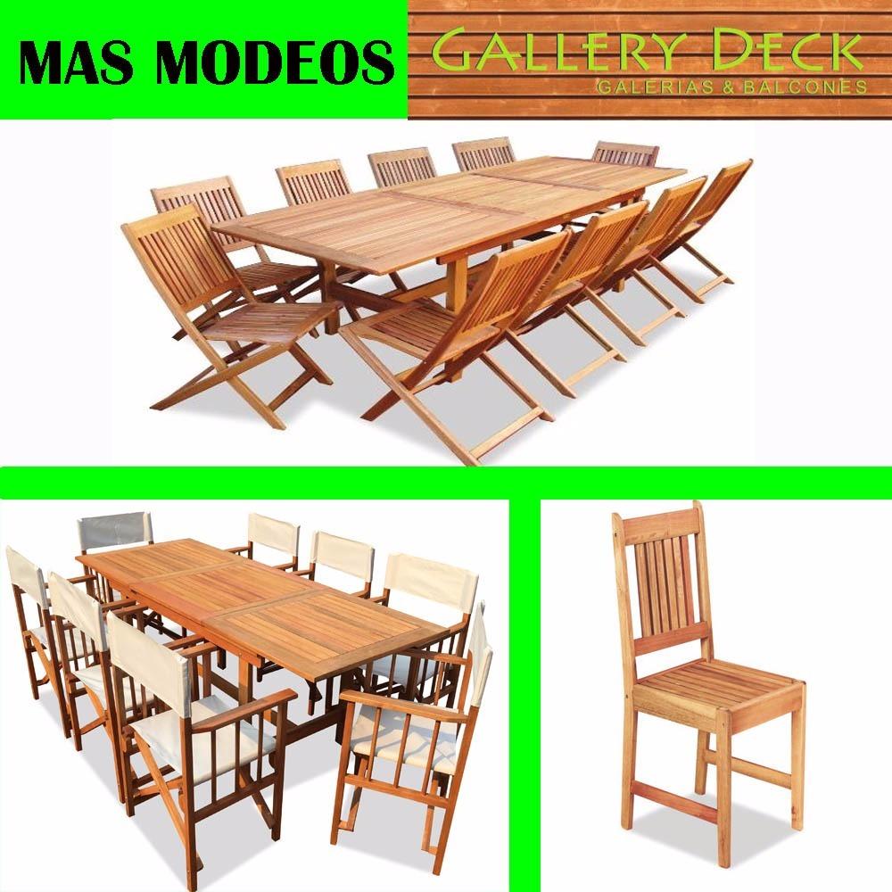 Mesas Jardin Exterior Interior Madera 150x85 + 6 Sillas .ema