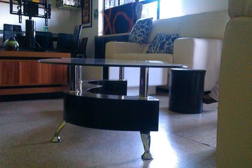 mesas moderna de centro + 2 puff nueva