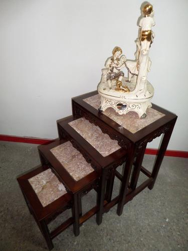 mesas nido madera tallada cubiertas de marmol