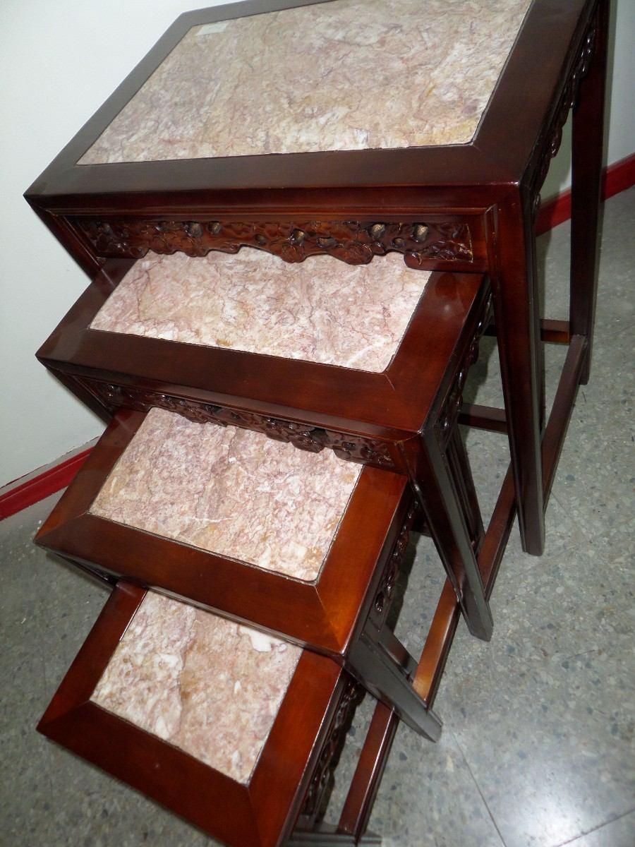 Mesas nido madera tallada cubiertas de marmol for Cubiertas de marmol chile
