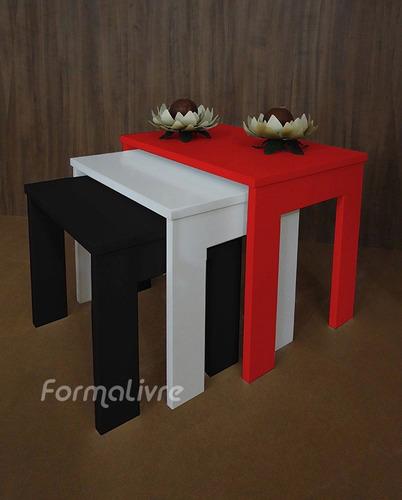 mesas ninho lateral de apoio centro - coloridas laqueada