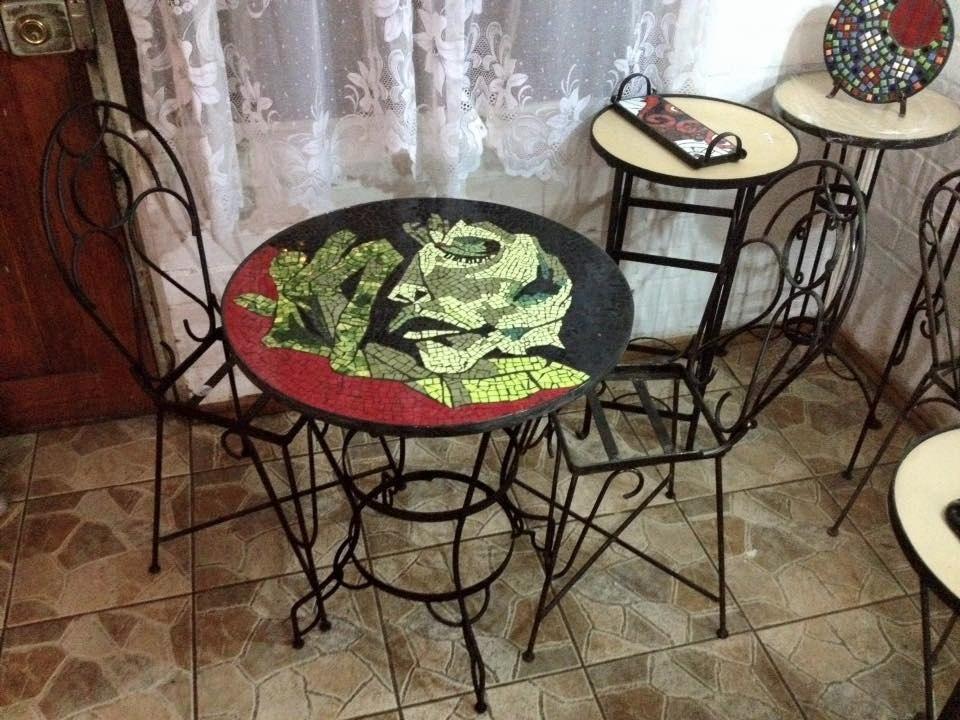 Mesas Para Terraza Fierro Y Mosaico Elegante Decoración