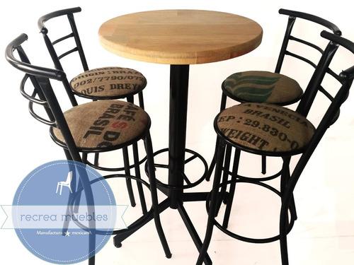 Mesas periqueras para bar cafeteria madera tela 1 650 for Mesa para bar madera