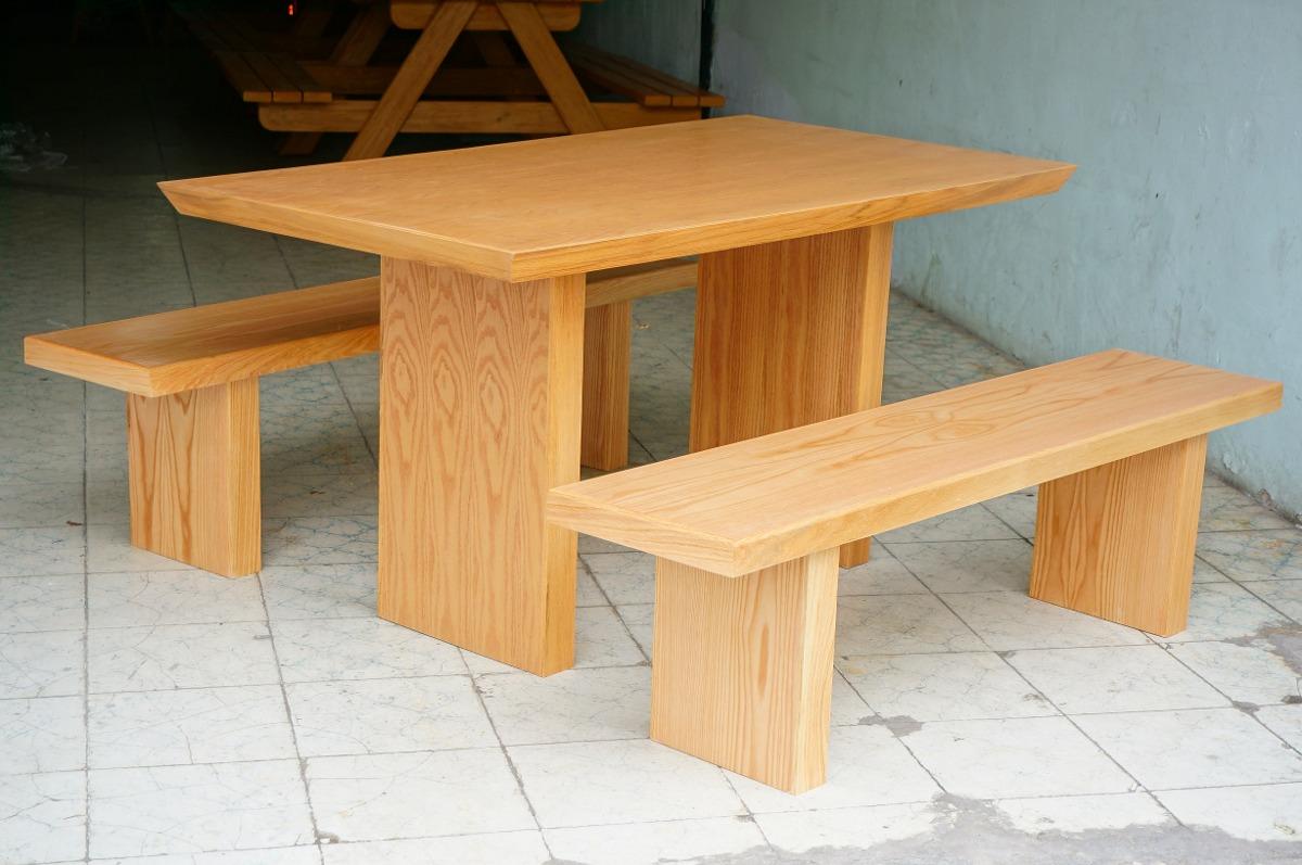 Mesas picnic madera bancas mobiliario exterior teca parota - Mesas de teca exterior ...