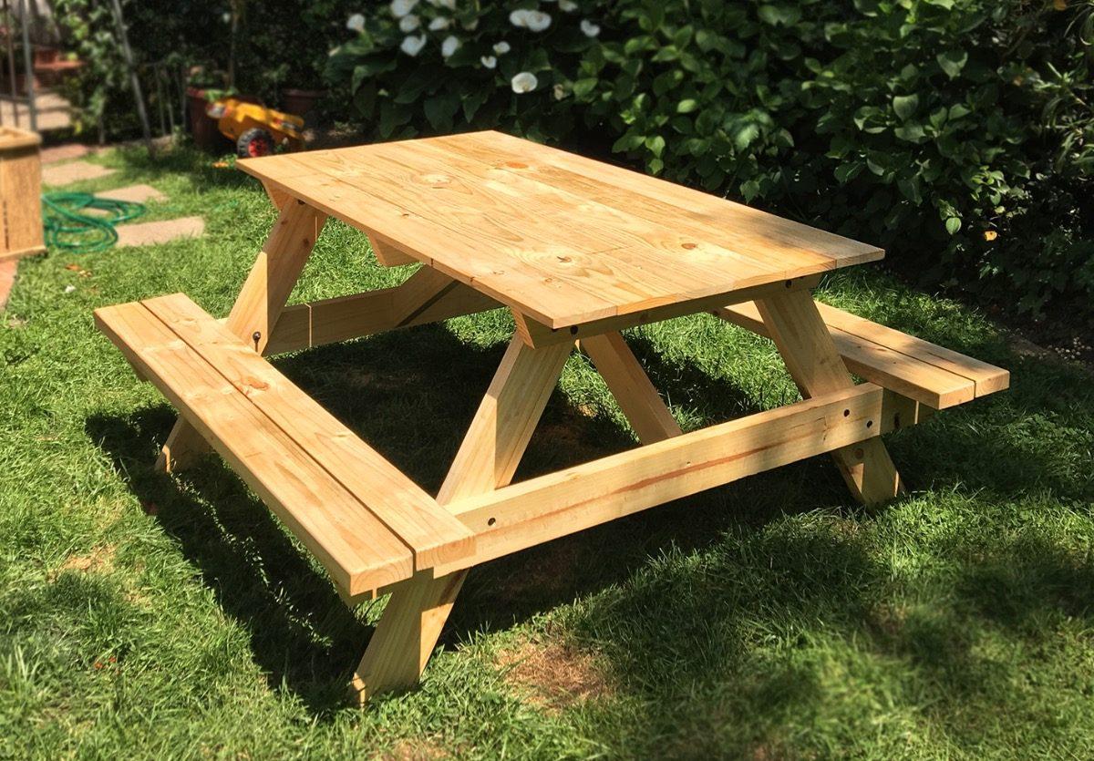 Mesas picnic y camping madera terraza en for Mesa de picnic madera