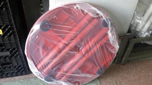 mesas plásticas redondas nuevas / azul, blanco y rojo